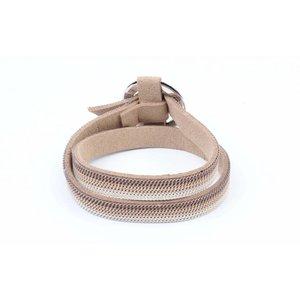 "Wikkelarmband ""Ring"" met kettinkjes taupe"