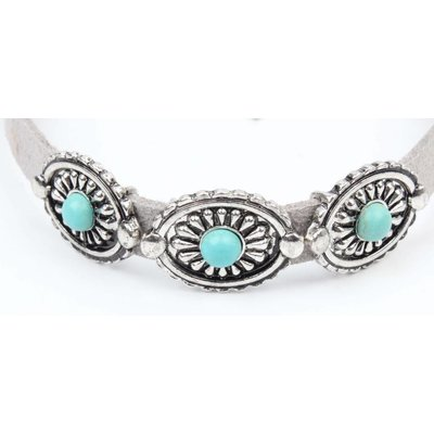 Choker with coins and turquoise stone grey (318088)