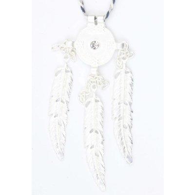 Geflochtene Halskette mit Metall Federn blau (318085)