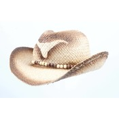 """Cowboy hat """"Longhorn"""" with wooden beads"""