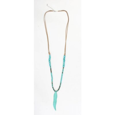 Long necklace ' Feather ' with natural stone and suede turquoise