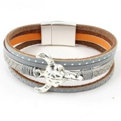 Bracelet mulit row ' Buffalo ' grey