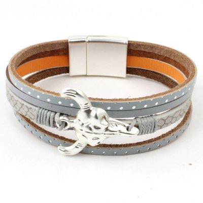 Armband mulit row 'Buffalo' grijs
