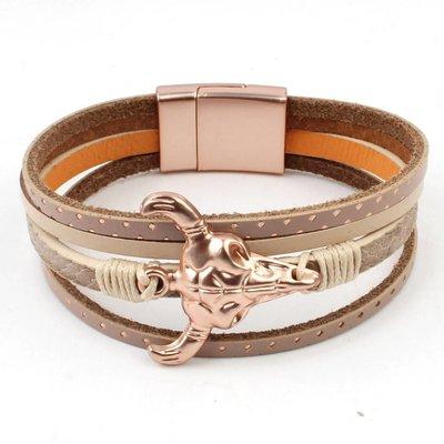 Bracelet mulit row ' Buffalo ' taupe-rosé