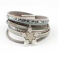 Bracelet multi row ' Star ' grey-blue