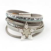 Armband multi row 'Star' grijs-blauw