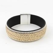 Bracelet wide ' rhinestone ' taupe