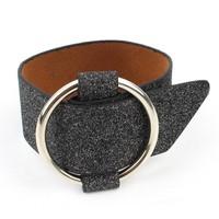 Armband 'metal ring'  breed zwart