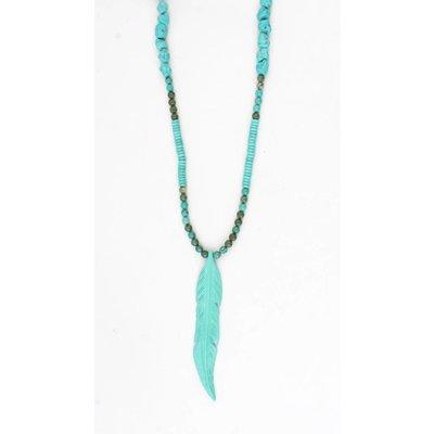 Lange ketting 'Feather' met natuursteen en suedine turquoise