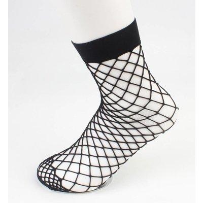 Socks ' Fishnet ' large gage black per 2 pairs