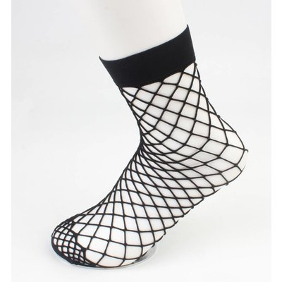 Sokken 'Fishnet' large gage zwart per 2 paar