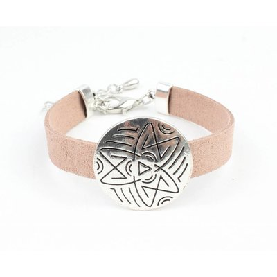 Suede Star'met ' Happy metal coin bracelet