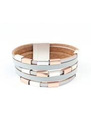 Armband multi row 'metal Cubes' grijs
