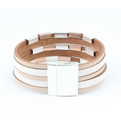Learning multi row bracelet with metal tubes taupe