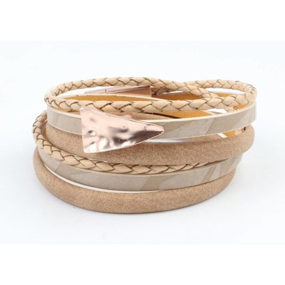 Leather Bracelet multi row ' Triangle ' taupe-rosé