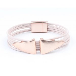 Bracelet multi row ' Double Triangle ' pink
