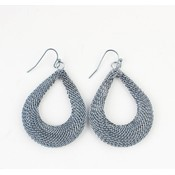 ' Drop ' metal earring sterling blue Large