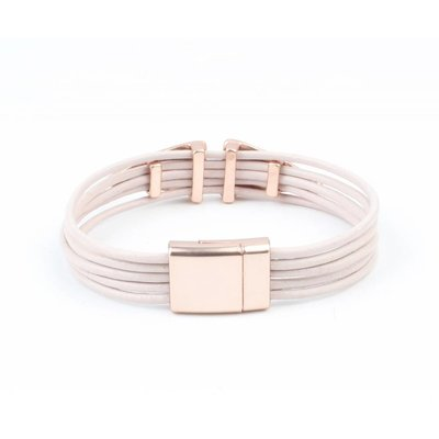 Leren multi row armband 'Double Triangle' roze