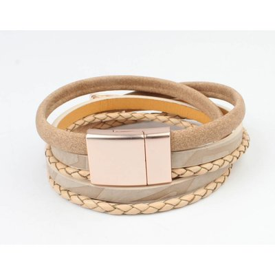 Leder Armband mehrere Zeilen 'Dreieck' Taupe-rosé