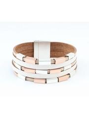 Bracelet multi row ' metal Cubes ' taupe