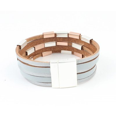 Leren multi row armband met metlalen buisjes grijs