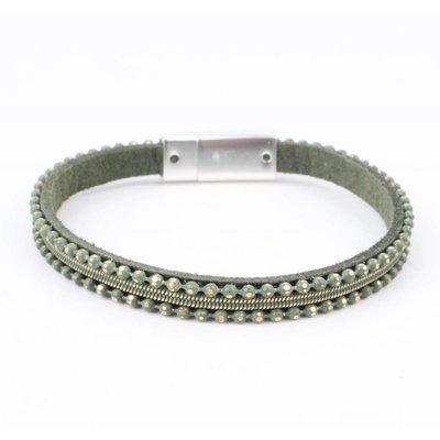 Leather Bracelet ' metal balls ' green
