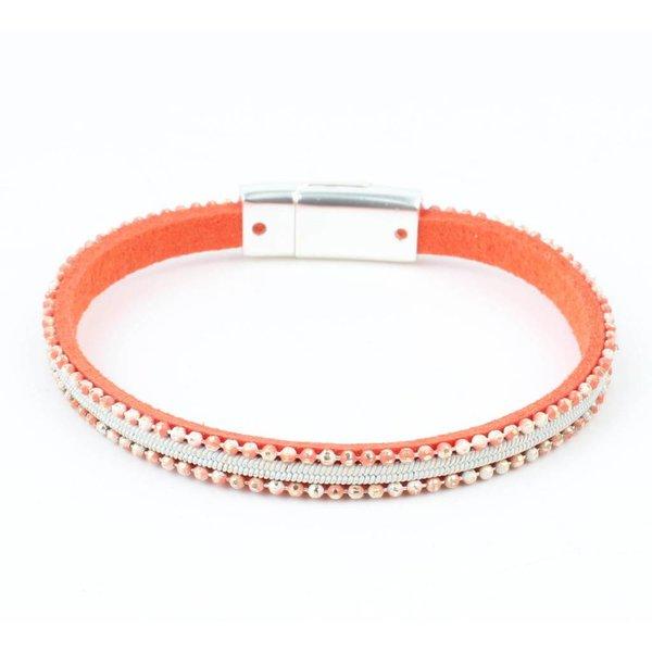Leder Armband 'metal balls' oranje
