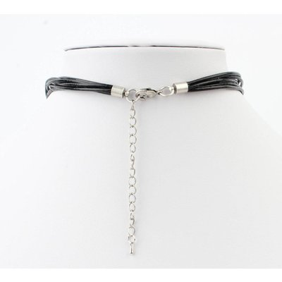 """Kurze Leder Halskette """"Fantasy Kreise"""" schwarz"""