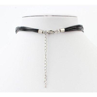 Short leather necklace ' Fantasy Circles ' black