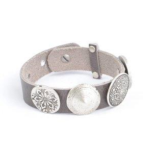 Rove Armband 4 verschill.studs, Grijs, Mia (L)