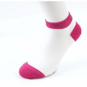 Lurex white socks-fuchsia per 2 pairs