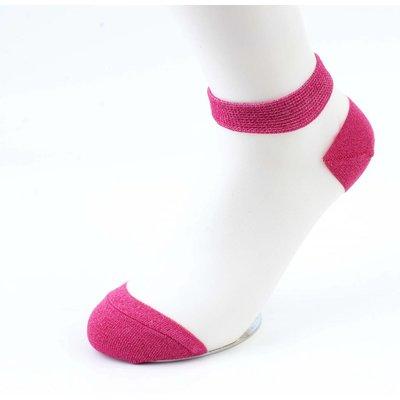 Lurex white socks-fuchsia packed per 2 pairs