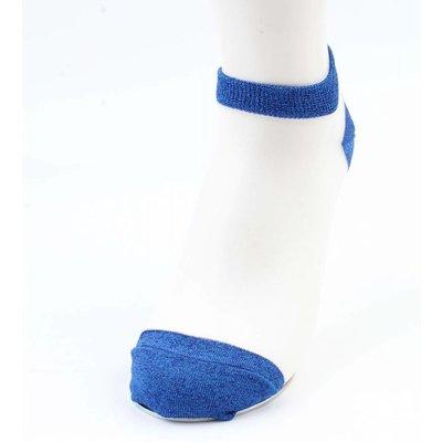 Sokken Lurex wit- blauw verpakt per 2 paar