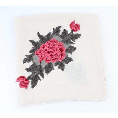 """Schal """"Rosen"""" quadratische weiße"""