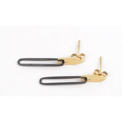 Earring oval stainless steel gold