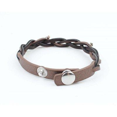 "Armband ""Vlechten"" leder brons"