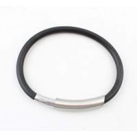 Armband rubber RVS zwart
