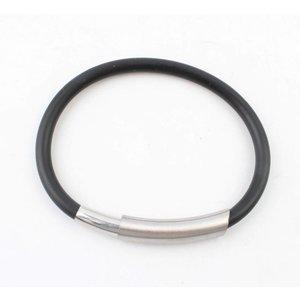 Bracelet rubber stainless steel black