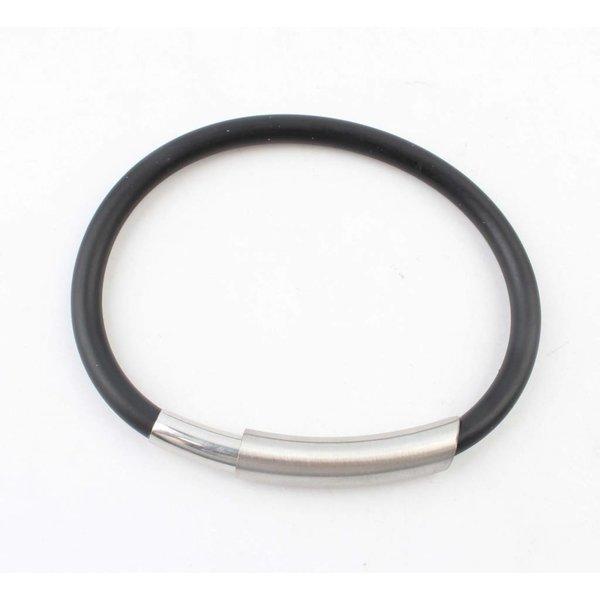 Armband rubber RVS met magneetsluiting, zwart