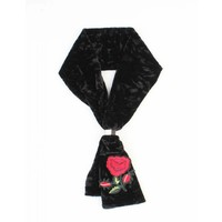"Scarf ""Stitched rose"" black"