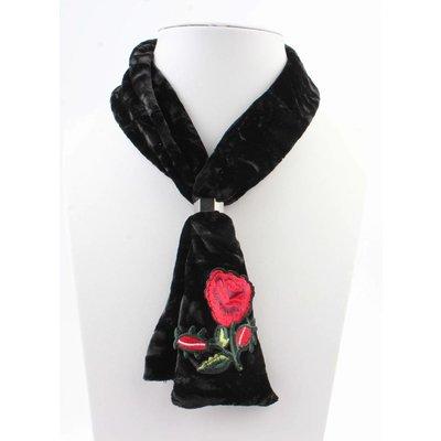 """Schal """"Stitched rose"""" schwarz"""
