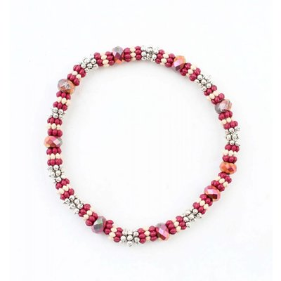 """Armband medium """"Metalen rings"""" rood"""