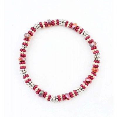 """Bracelet medium """"Metal rings"""" Red"""