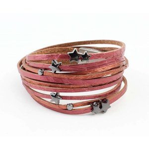 "Bracelet multi row ""snake"" Red"