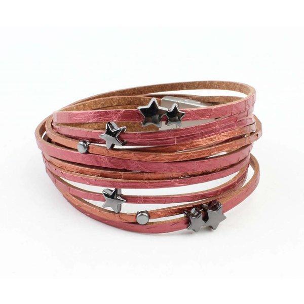 "Armband multi rij ""Slang"" rood"