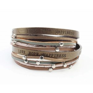 "Bracelet ""Love hope happiness"" brown"