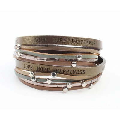 "Armband ""Love hope happiness"" braun"
