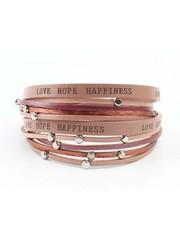 "Armband ""Love hope happiness"" roze"