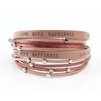 "Armband ""Love hope happiness"" roza"