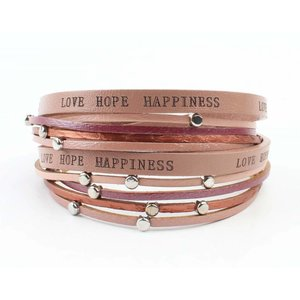 "Armband ""Love hope happiness"" roze"